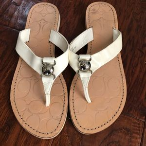 COACH Madie White and Tan Silver Studded Sandals